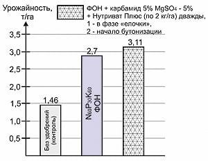 Рис. 3. Влияние внекорневой подкормки льна на фоне Na60P30K60